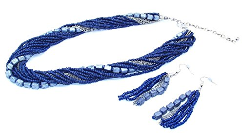Blue Fashion Jewelry (Multi Strand Bead Chain Necklace and Bead Chain Earrings (17 inch) (Navy Blue and Silver))