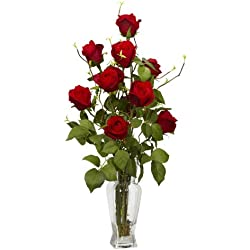 Nearly Natural 1213 Rosebud Silk Flower Arrangement, Valentine's Day Gift Red