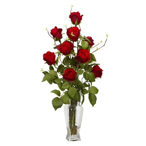 Nearly-Natural-1213-Rosebud-Silk-Flower-Arrangement-Red
