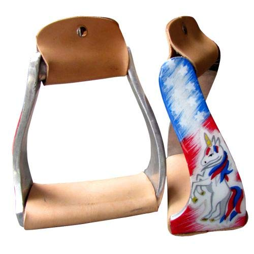 Showman Pony/Youth Polished Aluminum Stirrups w/Red, White & Blue Unicorn Design! New Horse TACK!