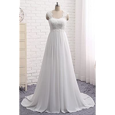 Women's Sleeveless Lace Chiffon Evening Wedding Dresses Bridal Gowns: Clothing