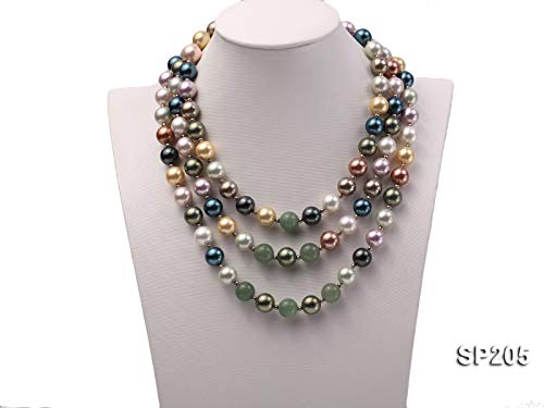 JYXJEWERLRY Fashion Women Pearl Necklace Classical Triple-Strand 12mm Luxurious Seashell Pearl and Green Jade Necklace for Ladies 17