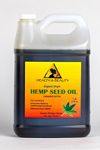 Hemp Seed Oil Unrefined Organic Virgin Carrier Cold Pressed Pure 128 oz, 7 LB, 1 gal (Natural Vaporizer Juice)
