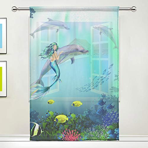 XiangHeFu Sheer Curtain Tulle Underwater World with Dolphins and Mermaid Voile Window Curtains for Bedroom,55(W) x78(L) Inch,1 - Dolphins Two White Gold