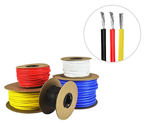 22 AWG Gauge Silicone Wire - Fine Strand Tinned Copper - 25 Feet Red, 25 Feet Black, 25 Yellow