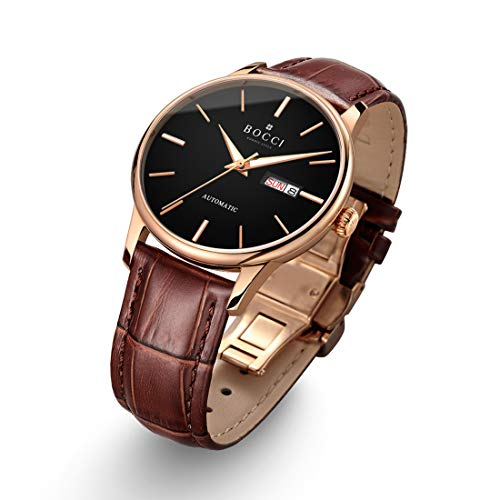 - BOCCI Mens Rose Gold Watch Leather Band Japanese Automatic Watch Mechanical Casual Dress Wrist Watch Waterproof with Date Luminous Unisex