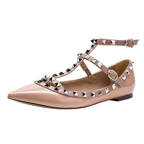c12d0cb1e4e Kaitlyn Pan Studded Strappy Ballerina Leather Flats - Buy Online in UAE.