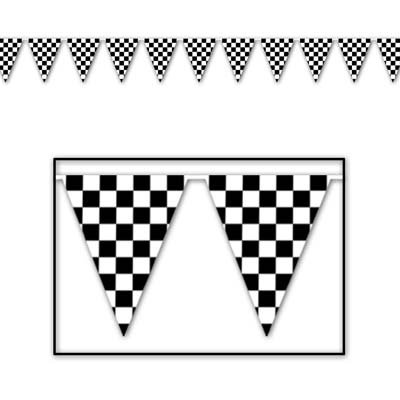 Beistle S50701AZ2, 2 Piece Checkered Pennant Banners, 17'' x 120'