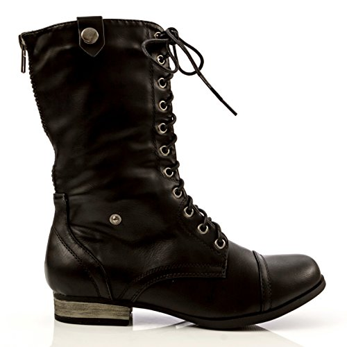 Over Charles Fold Albert Women's Cuff Cablee Combat Black Boot Aztec with drwr0qxn6Y