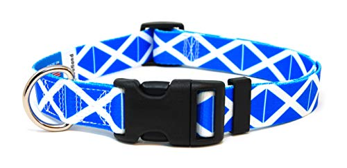 (PatriaPet Dog Collar with The Scotland Flag Design | Great for National Holidays, Special Events, Festivals, Independence Days and Every Day Strong Safe | XSmall Small Medium Large)