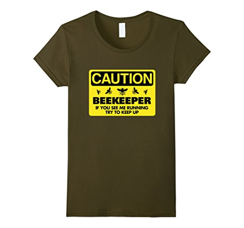 Womens Beekeeper T-Shirt Beekeeping Shirt If You See Me Running Tee Medium Olive