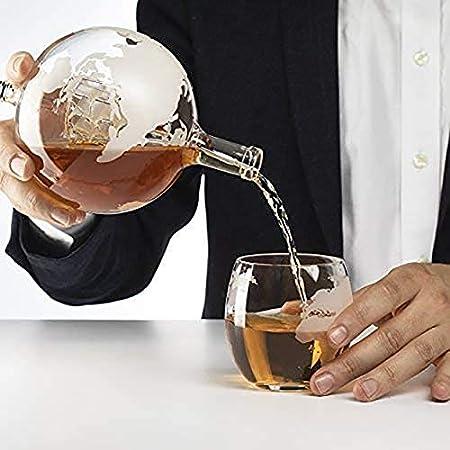 AURALLL Whisky Decanter Finest Glass Whisky Globe Decanter Glass Decanter Bottle Incluye Base de Madera