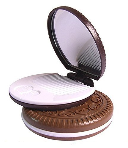 Fashion Cocoa Cookies Mirror Makeup Mirrors with Comb, Unique Cheap Sandwich Cooke Compact Mirrors Women Makeup Accessories Tools