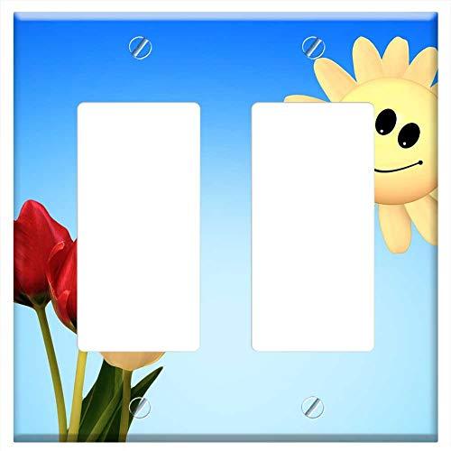 Rocker/GFCI - Tulips Red White Smile Sun Smiley Spring ()