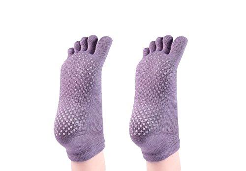 Cosfash Yoga Socks Non Slip Skid Toe Grips for Pilates Barre Women Men 2 Pack (2 pairs light purple(toe))