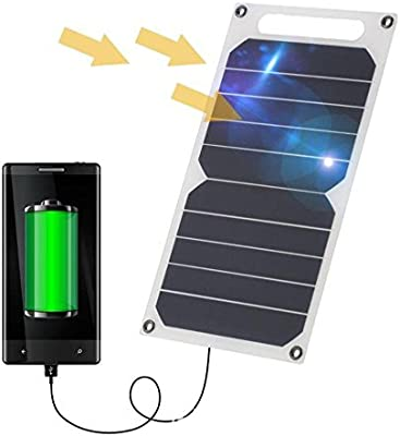 Zuukoo Cargador Solar, 10W 5V Panel Solar Portátil Batería Externa Power Bank con Puerto USB Cargador Móvil para Teléfonos Tabletas Carga de ...