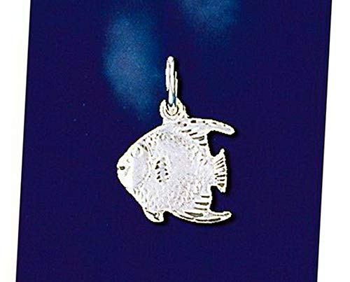 (Sterling Silver Angel Fish Pendant Tropical Ocean Italian Charm Solid 925 Vintage Crafting Pendant Jewelry Making Supplies - DIY for Necklace Bracelet Accessories by CharmingSS )