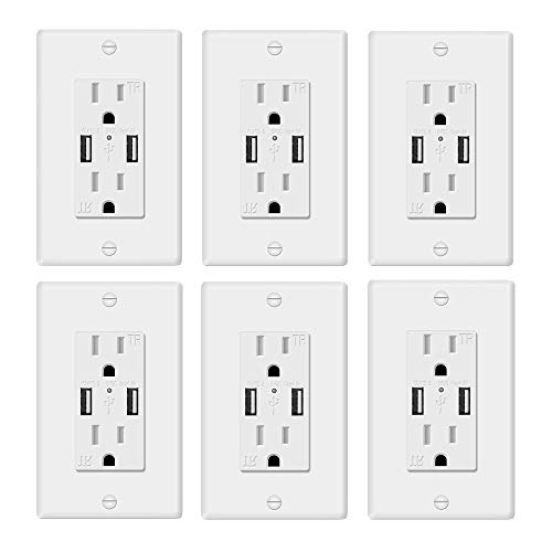AA-Smart UL498 Standard 5V 4.2A Fast Charging Duplex USB outlet, Child Protected Tamper Resistant 15Amp Duplex Receptacle USB Wall Outlet (6 pcs) ()