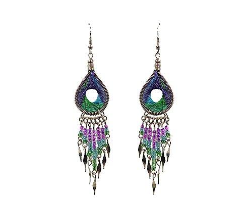 - Teardrop w/Hole Thread Long Beaded Dangle Earrings (Purple/Turquoise/Green)