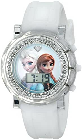 Disney Kids' FZN3579 Frozen Anna and Elsa Rhinestone-Accented Watch with White Rubber Band