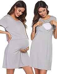 Ekouaer Nightgown Womens 3 in 1 Delivery/Labor/Nursing Nightgown Short Sleeve Maternity Sleepwear S-XXL