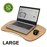 BEEBO BEABO Large Bamboo Lap Desk for Laptop Portable Jumbo Laptop Desk Tray with Detachable Cushion Pilliow Suitable as LapDesk Stand Bed Tray Book Stand Writing Table