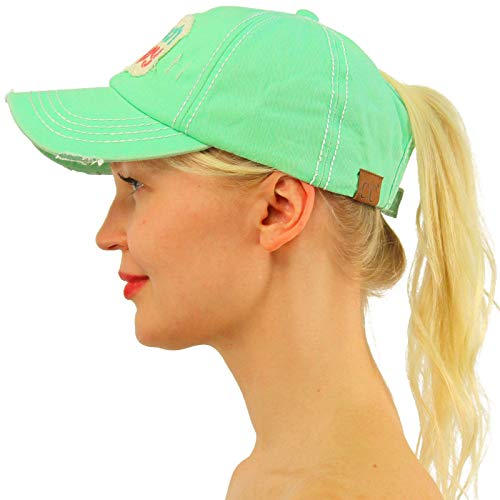 (C.C Ponytail Messy Buns Trucker Ponycaps Plain Baseball Visor Cap Dad Hat Distressed Beach Happy Mint)