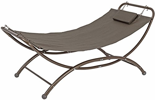 (SORARA Heavy Duty Quilted Fabric Patio and Garden Hammock Bed with Frame Stand Garden Camping Porch Patio Beach Furniture for Outdoor Backyard Garden Pool Lounge Patio, Grey)