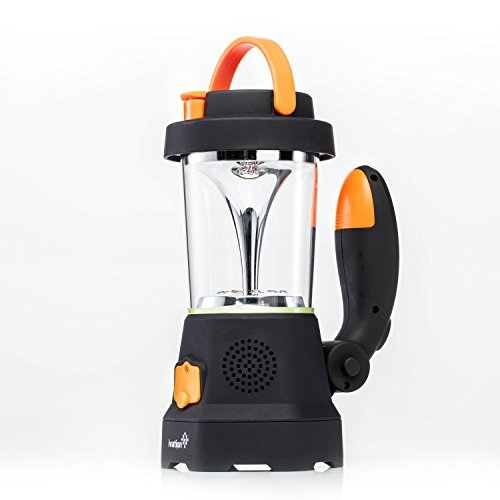 Ivation Hand Crank LED Camping Lantern with Flashlight, SOS Siren & Light, AM/FM Radio & Emergency Mobile Device Charger, Orange