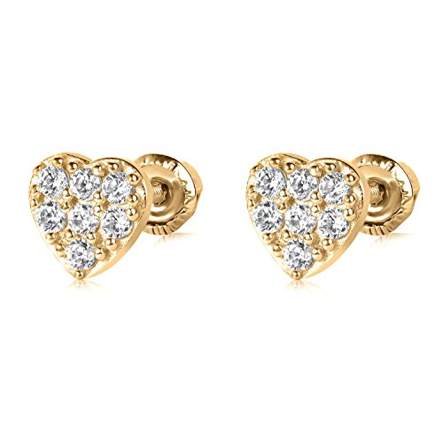 14k YG Heart Stud Earrings 4883 42375 ()