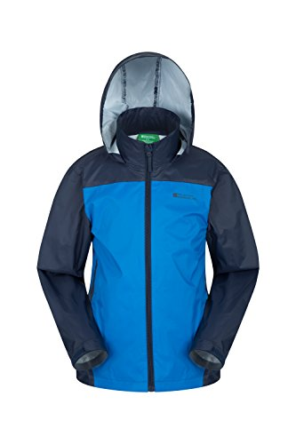 Hood Coat Adjustable Coat Childrens Resistant Blue for Kids for amp; Ripstop Hook Mountain Camping Jacket Cuffs Loop Tidal Trench amp; Jacket Warehouse Travelling Water Summer PxqRav