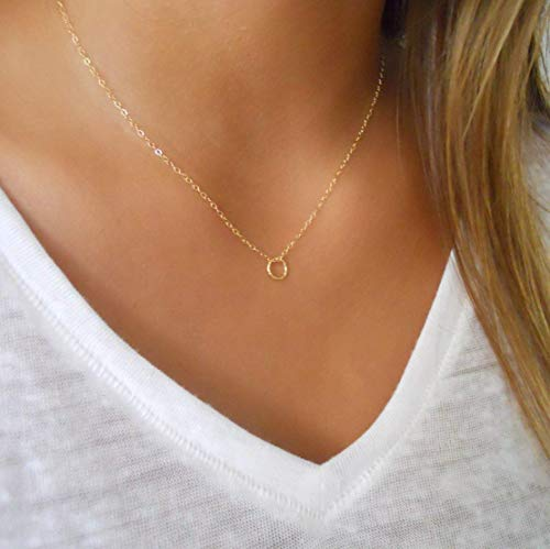 Handmade Gold Necklace With a Tiny Ring Pendant