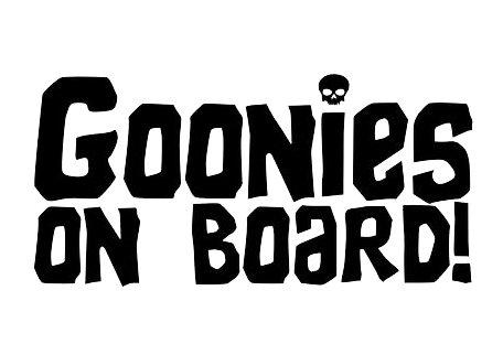 CCI Goonies On Board With Skull Funny Decal Vinyl Sticker|Cars Trucks Vans Walls Laptop|Black |5.5 x 3.75 in|CCI1834 ()
