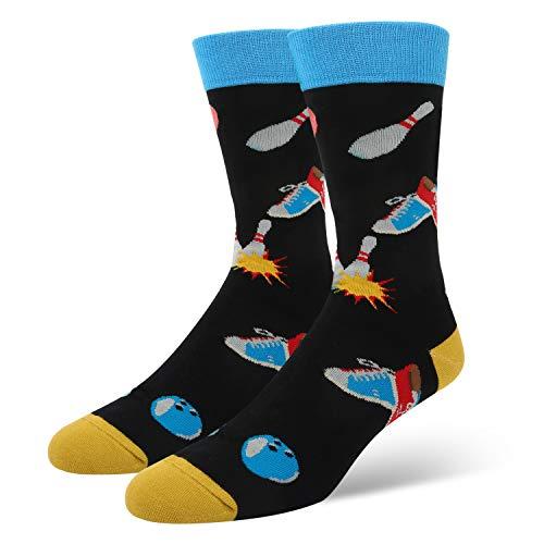 Happypop Men's Novelty Funny Sports Crew Socks, Funky Cool Bowling Cotton Socks]()