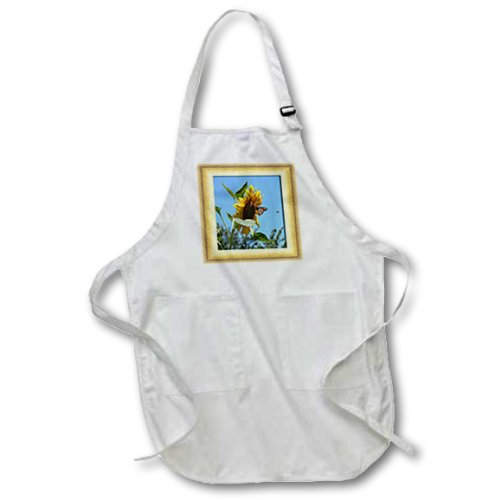 BLACK Full Length Apron with Pockets 22w x 30l 3dRose Beverly Turner Photography and Design apr/_12322/_4 Sunflower with Butterfly