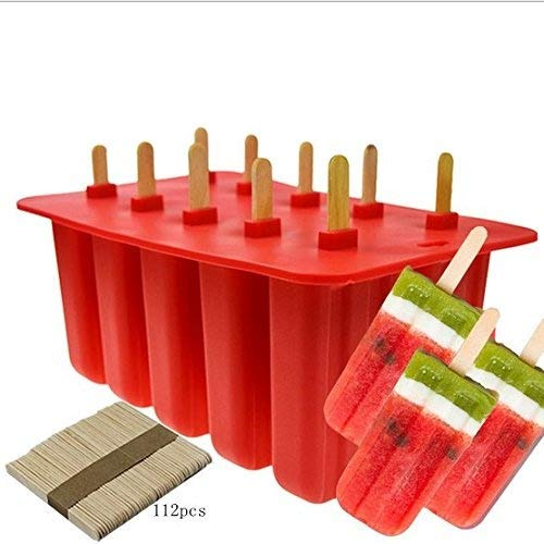 Xing-Rui 10-Cavity Slicone Frozen Ice Pop Maker with100Wooden Sticks for Toddlers, Kids and Adults - BPA Free(Red)