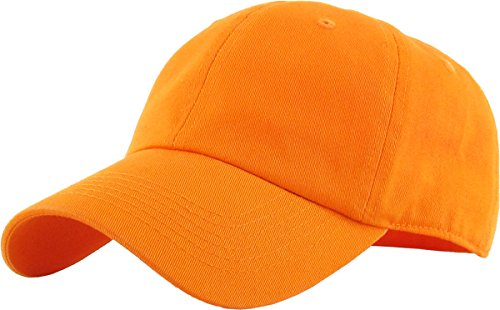 KB-LOW ORG Classic Cotton Dad Hat Adjustable Plain Cap. Polo Style Low Profile (Unstructured) (Classic) Orange Adjustable -