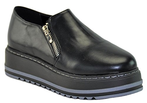 Lynda Black Faux Vegan Leather Slip On Zipper Thick Sole Wedge Platform Punk Oxford Zapatos Bonitos Baratos Mejores de Mujer for Women Ladies Girls (Size 7.5, Black) by BDshoes
