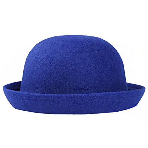 - Lujuny Classic Wool Round Bowler Hats - Trendy Derby Fedora Bucket Caps with Roll-up Brim for Youth Girl Petite Women (Blue)