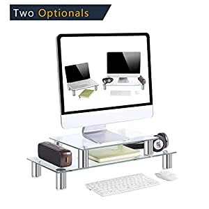Clear Tempered glass monitor stand , 23.6 inch