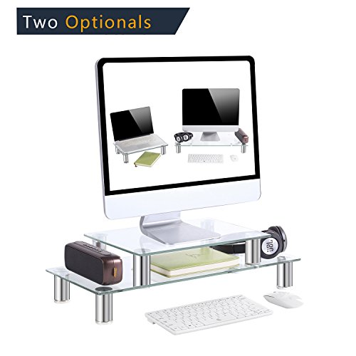 Two Monitors 1 Piece (TAVR Multifunction 2 or 1 tier Variable Assembling Monitor Stand / Riser Desktop Shelf Organizers with Height Adjustable for Home Office Clear Tempered Glass,CM2003)