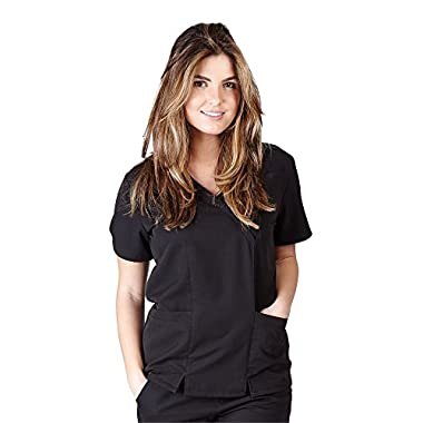 Ultra Soft Scrubs - Womens Junior Fit Two Pocket Cross Over Tunic Scrub Top, Black 38793-Small