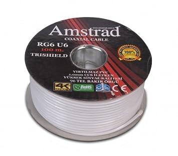 100M Cable coaxial RG6 U6 96 blindé Amstrad - Cable pour parabole et antenne terrestre