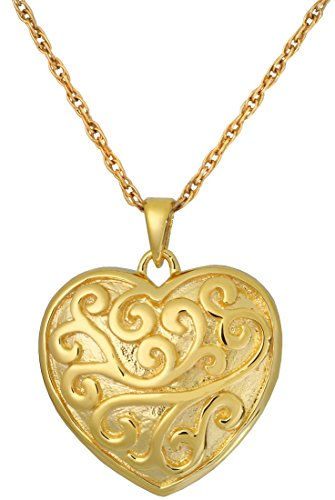 14k Gold Plated Filigree (Memorial Gallery MG-3316gp Scrollwork Filigree Heart 14K Gold/Silver Plating Cremation Pet)