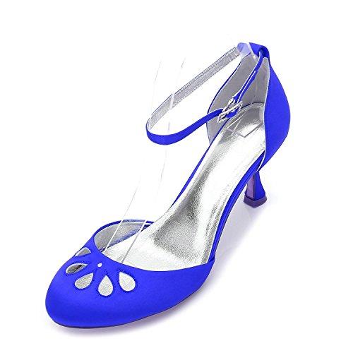 L@YC Tacones bajos de las mujeres 17061-37 Bombas de punta redonda del partido Prom Zapatos de fiesta de la tarde de la boda del satén Blue