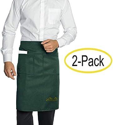 Viedouce 2 Paquetes Delantales,Cintura Corta Delantal Impermeable con 2 Bolsillos para Restaurante Chef Camarero Bartender Mitad,Delantale de Cocina para Hombres Mujeres (Verde): Amazon.es: Hogar