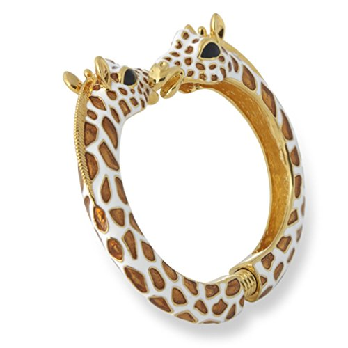 Kenneth Jay Lane Tan/White Giraffe Enamel Bypass Bangle Bracelet by Kenneth Jay Lane