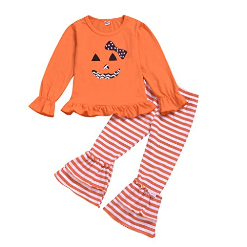 Cool980s Newborn Newborn Girls' Halloween Dress and Legging Set Smiling Ghost Long Sleeve Tops with Striped Bell-Bottoms Pants