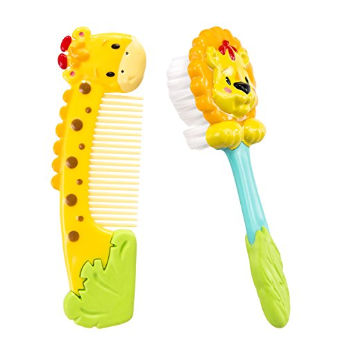 Sassy Jungle Soft Grip Comb and Brush Set