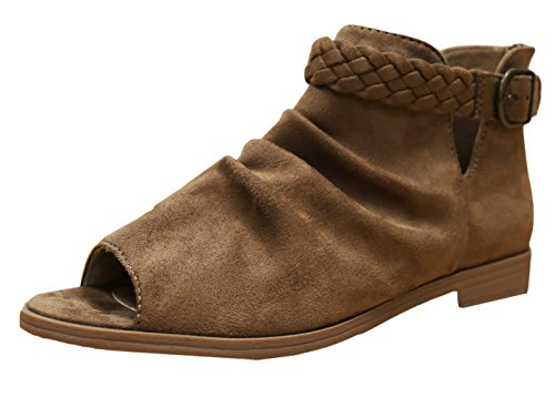 Soda Women's Brinley Braided Buckle Slouchy Peep Toe Bootie (6.5 B(M) US, Light Tan) (Tan Peep Toe)